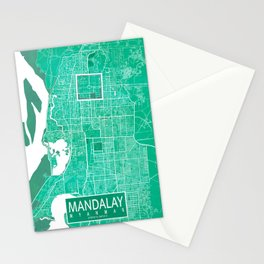 Mandalay City Map of Myanmar - Watercolor Stationery Cards