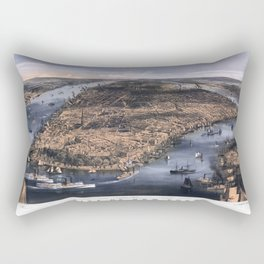NEW YORK NYC city old map Father Day art print poster Rectangular Pillow