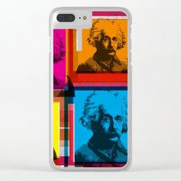 ALBERT EINSTEIN (4-UP POP ART COLLAGE) Clear iPhone Case