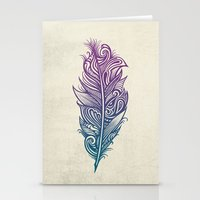 supreme Stationery Cards featuring Supreme Plumage by Rachel Caldwell