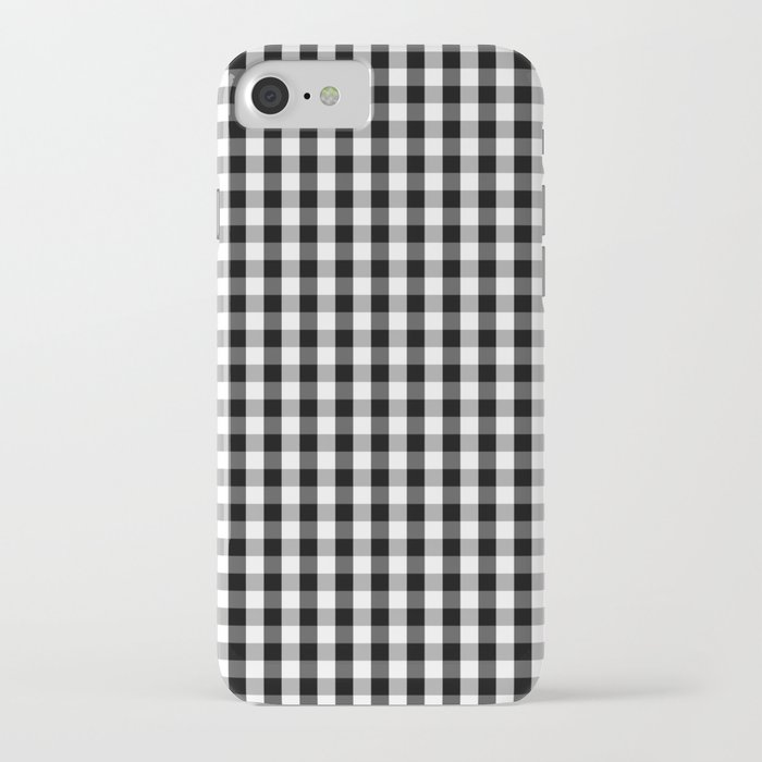 Classic Black & White Gingham Check Pattern iPhone Case