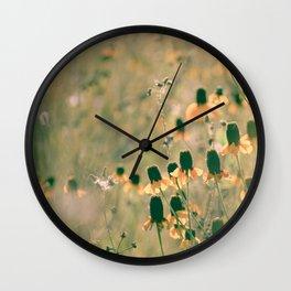 Yellow Prairie Mexican Hat Coneflower Meadow - Dreamy summer botanical Wall Clock