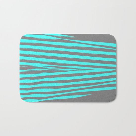 Aqua & Gray Stripes Bath Mat