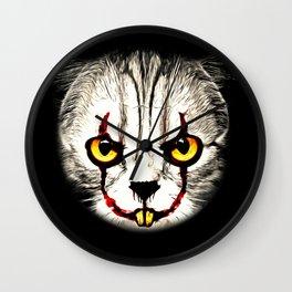 cat clown kittywise no text vector art Wall Clock