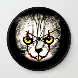 cat clown kittywise no text vector art Wall Clock
