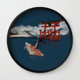 Floating by the Torii Gate Wall Clock