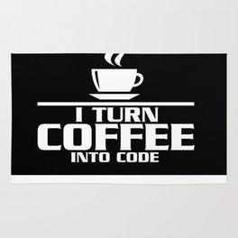 I turn coffee into code Rug