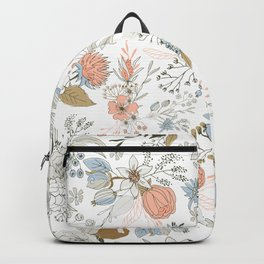 Abstract modern coral white pastel rustic floral Backpack
