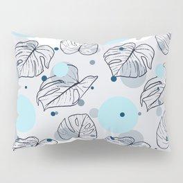 Monstera (Bubbles) - Blue Pillow Sham