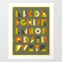 alphabet Art Prints featuring ALPHABET by Jazzberry Blue