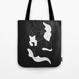 Girl with White Cat and Plants / Line Art Tote Bag