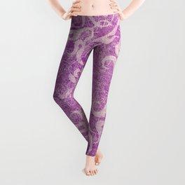 Antique rustic purple damask fabric Leggings