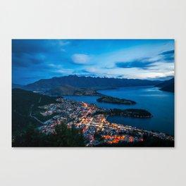 Queenstown City Lights from Skyline, New Zealand Canvas Print