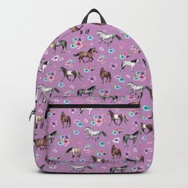 Purple Horse and Flower Print, Hand Drawn, Horse Illustration, Little Girls Decor Backpack