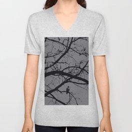 Haunted Tree: Halloween, black and gray Unisex V-Neck