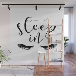 SLEEP IN PRINT, Let's Sleep In,Lashes Decor,Lashes Art,Good Night Print,Teen Girls,Calligraphy Quote Wall Mural