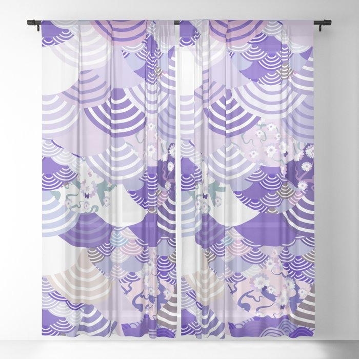 Nature background with japanese sakura flower, Cherry, wave circle. Ultra Violet Color of the Year Sheer Curtain