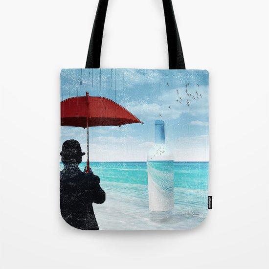 Chaplin at the beach in the rian Tote Bag