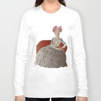 sofa Long Sleeve T-shirts featuring woman in a sofa by Rosa Brualla