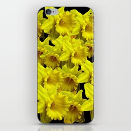 YELLOW SPRING KING ALFRED DAFFODILS ON BLACK iPhone Skin