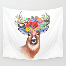 Watercolor Fairytale Stag With Crown Of Flowers Wall Tapestry