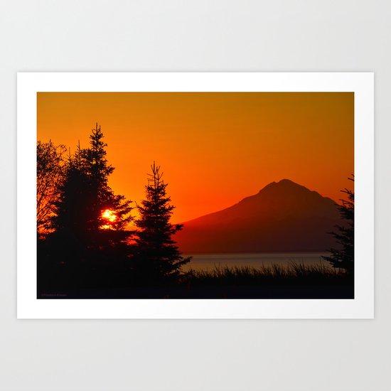 Orange Sky - Mt. Redoubt Art Print