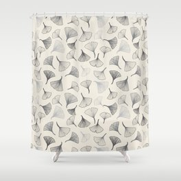 Ginko leaves grey Shower Curtain