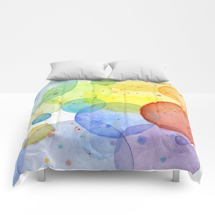 Watercolor Abstract Rainbow Circles and Splatters Comforters