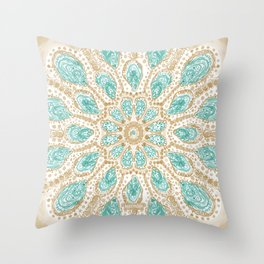 MMMOYSTERS Gold-Rimmed Oyster Mandala Throw Pillow