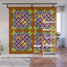 Western Style Purple Patterns & Yellow Butterflies Coffee Brown Wall Mural