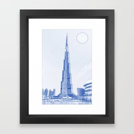 Blueprint drawing of Burj Khalifa Emirates Dubai 2s Framed Art Print