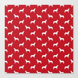 Husky dog pattern simple minimal basic dog silhouette huskies dog breed red and white Canvas Print