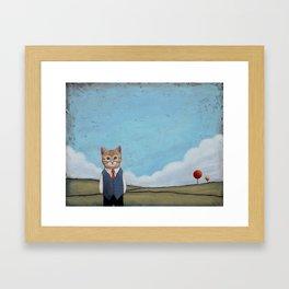 Cat in a Field anthropomorphic Framed Art Print