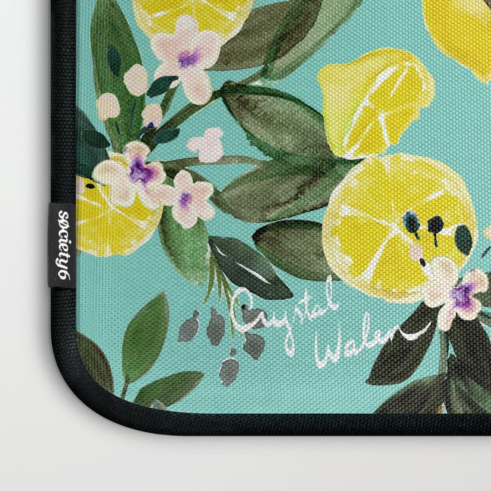 Summer Lemon Floral Laptop Sleeve