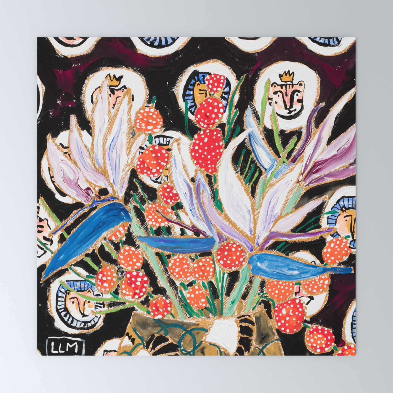 Lions And Tigers Dark Floral Still Life Painting Mini Art Print By