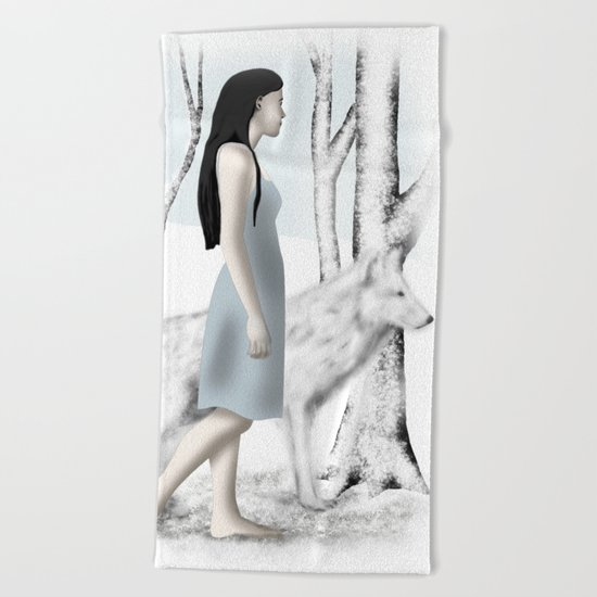 Girl with her Dog Beach Towel