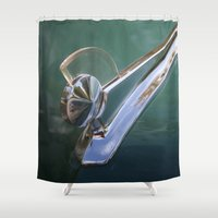 ford Shower Curtains featuring Vintage FORD Hood Ornament by Andrea Jean Clausen - andreajeanco