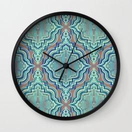 Marker Moroccan in Aqua, Cobalt Blue, Taupe & Teal Wall Clock