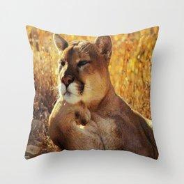 The Golden Thinker 🐾 Cougar 🐾 Throw Pillow