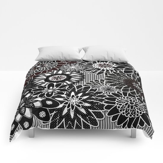 Flowers Black and White Comforters