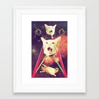 saga Framed Art Prints featuring galactic Cats Saga 4 by Carolina Nino