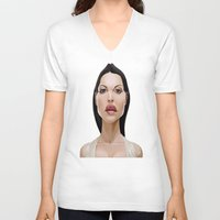 celebrity V-neck T-shirts featuring Celebrity Sunday ~ Monica Bellucci by rob art | illustration