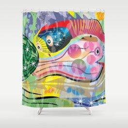 Hippy Fish in Rainbow Glow Shower Curtain