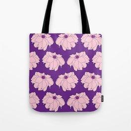 Pink Dahlia Flower Illustrated Print Tote Bag