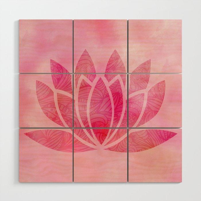 Zen Watercolor Lotus Flower Yoga Symbol Wood Wall Art By Ruthart