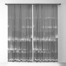 BLACK LAGOON - Abstract Digital Image Texture Glitch Art Sheer Curtain