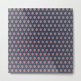 Beautiful Pattern #31 Blue triangles and red dots geometry Metal Print