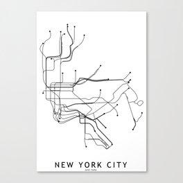 New York City White Subway Map Canvas Print