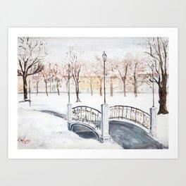 Locks on Little Lovers Bridge Art Print