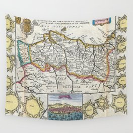 Vintage Map of Portugal (1747) Wall Tapestry